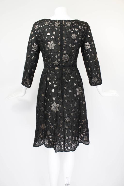 Oscar De La Renta Black Beaded Illusion Lace Organza Cocktail Dress 2