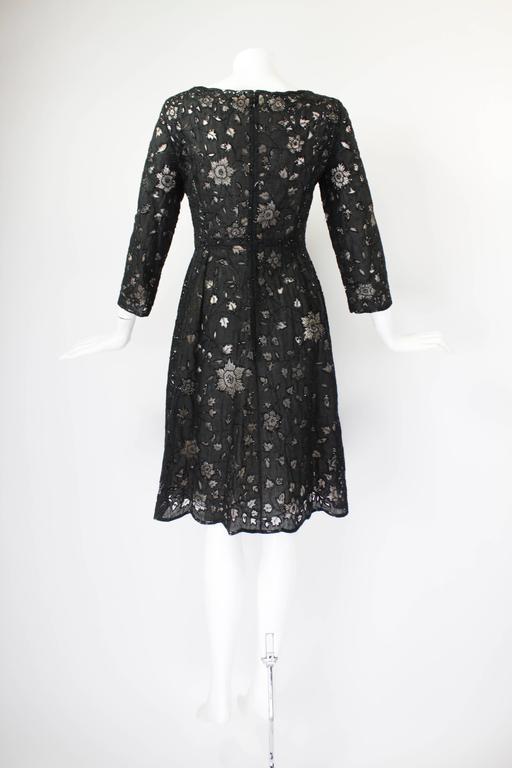 Oscar De La Renta Black Beaded Illusion Lace Organza Cocktail Dress 3