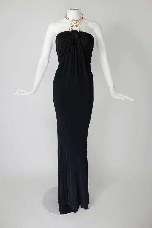 1990s Donna Karan Slinky Black Jersey Gown with Gold Choker Halter 2