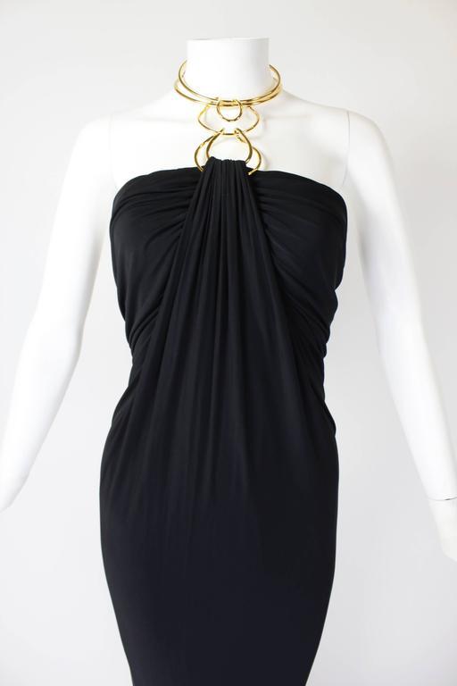 1990s Donna Karan Slinky Black Jersey Gown with Gold Choker Halter 7