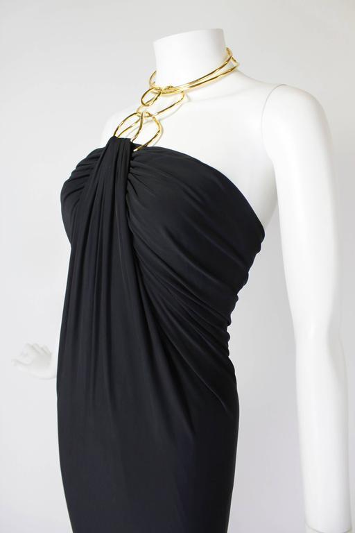 1990s Donna Karan Slinky Black Jersey Gown with Gold Choker Halter 6