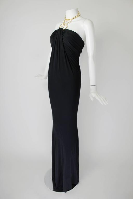 1990s Donna Karan Slinky Black Jersey Gown with Gold Choker Halter 3