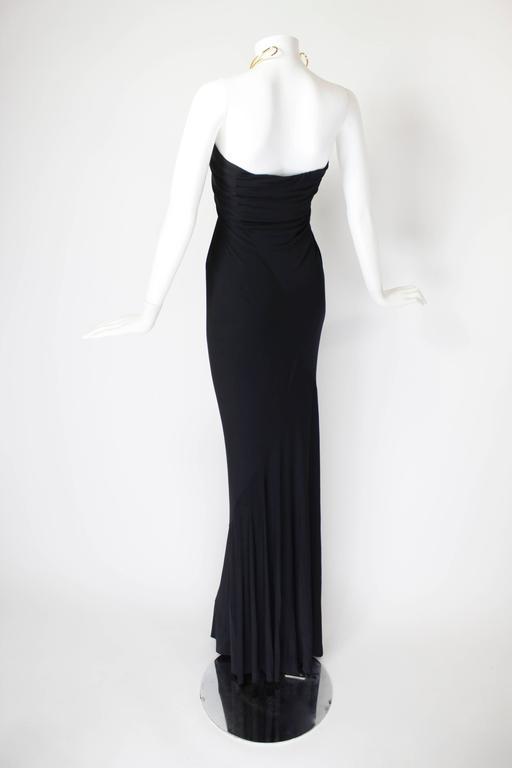 1990s Donna Karan Slinky Black Jersey Gown with Gold Choker Halter 4