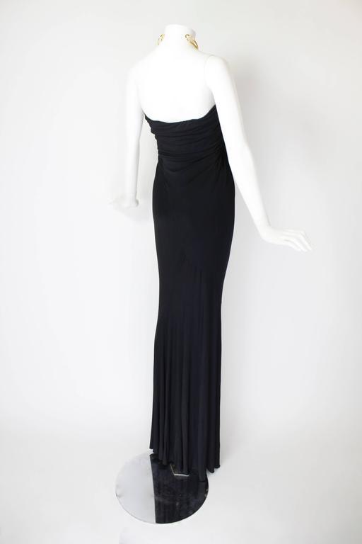 1990s Donna Karan Slinky Black Jersey Gown with Gold Choker Halter 5