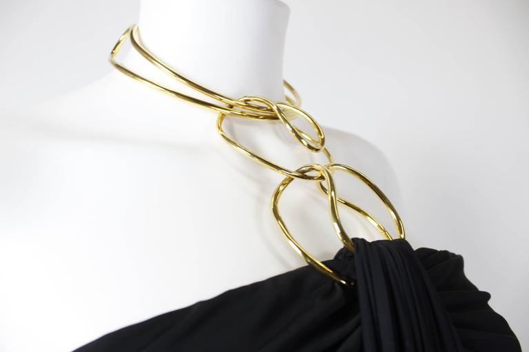 1990s Donna Karan Slinky Black Jersey Gown with Gold Choker Halter 8