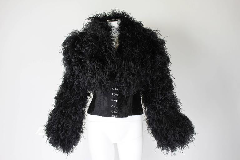 1990s Curled Ostrich Feather Cropped Jacket with Rhinestone Closure 6