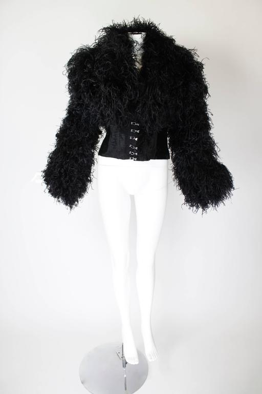 1990s Curled Ostrich Feather Cropped Jacket with Rhinestone Closure 2