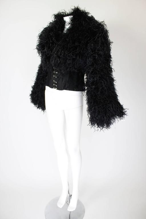 1990s Curled Ostrich Feather Cropped Jacket with Rhinestone Closure 3
