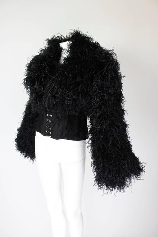1990s Curled Ostrich Feather Cropped Jacket with Rhinestone Closure 5