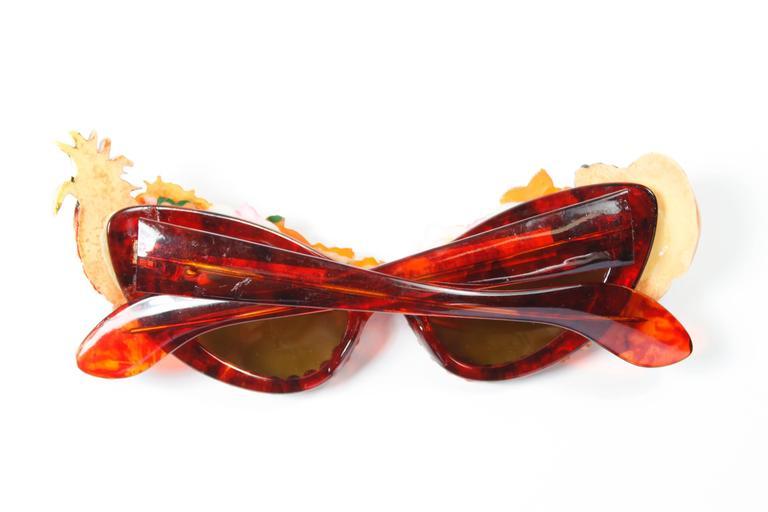 Mercura Tropical Flowers And Fruit Cat Eye Sunglasses At