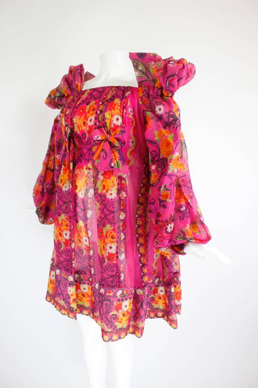 1980s Christian Lacroix Silk Organza Bare Shoulder Party Dress 5
