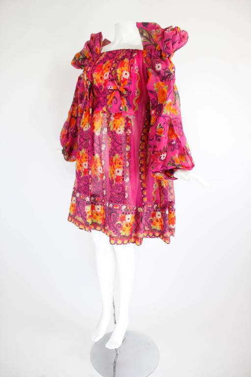 1980s Christian Lacroix Silk Organza Bare Shoulder Party Dress In Excellent Condition For Sale In Los Angeles, CA