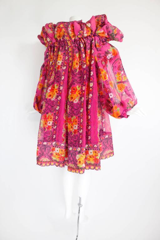 1980s Christian Lacroix Silk Organza Bare Shoulder Party Dress 6