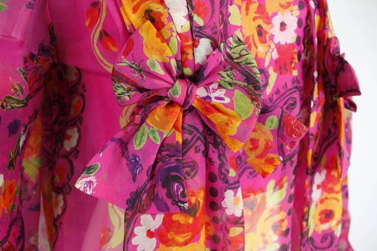 1980s Christian Lacroix Silk Organza Bare Shoulder Party Dress 8