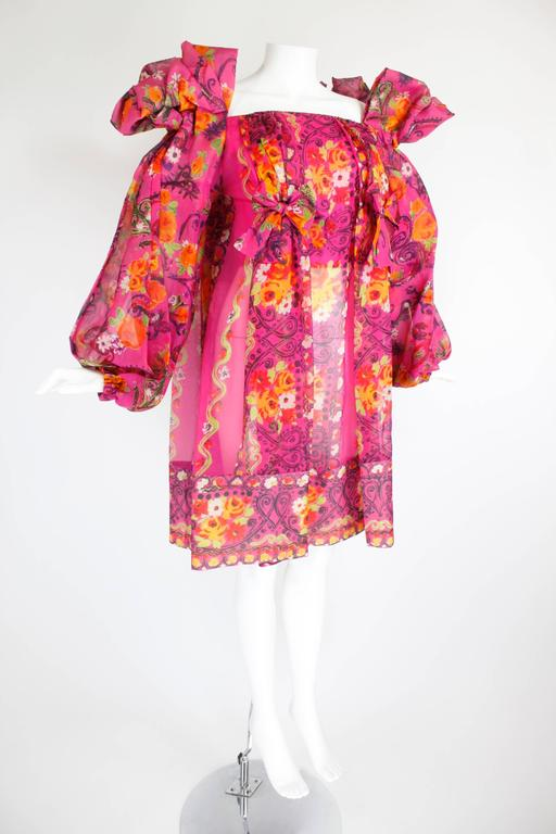 Pink 1980s Christian Lacroix Silk Organza Bare Shoulder Party Dress For Sale