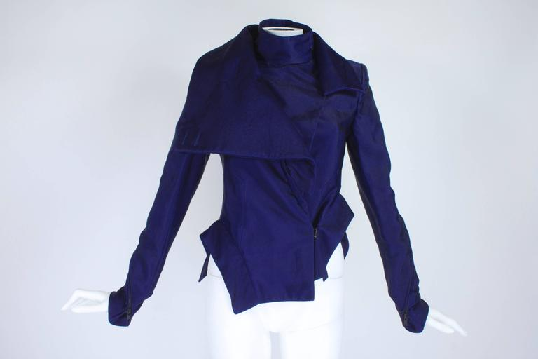 Ann Demeulemeester Asymmetrical Navy Moto Jacket with Zip Collar 4
