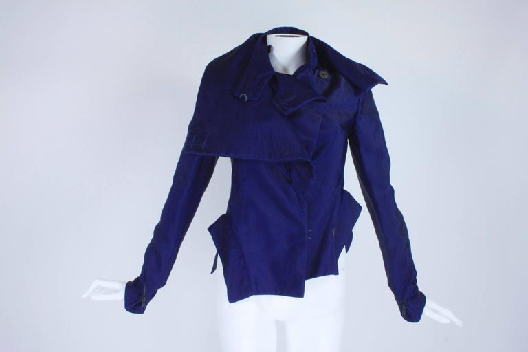 Ann Demeulemeester Asymmetrical Navy Moto Jacket with Zip Collar 3