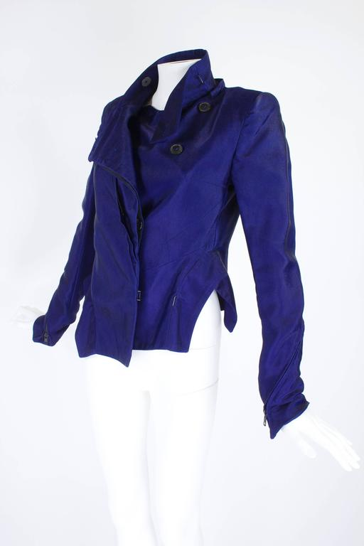 Ann Demeulemeester Asymmetrical Navy Moto Jacket with Zip Collar 5
