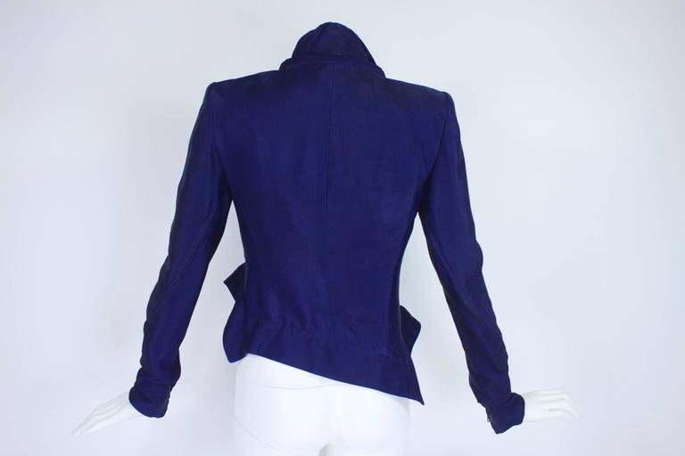 Ann Demeulemeester Asymmetrical Navy Moto Jacket with Zip Collar 7