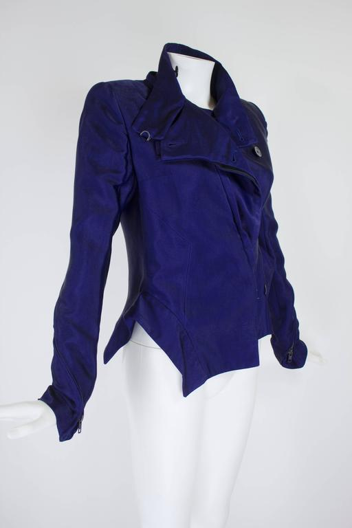 Ann Demeulemeester Asymmetrical Navy Moto Jacket with Zip Collar 6