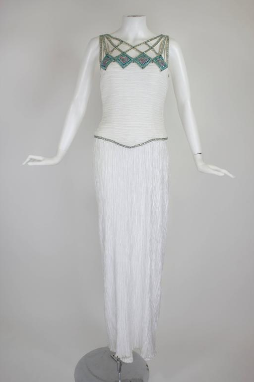1980s Mary McFadden Couture Pleated Column Gown with Beaded Cage Bodice 2