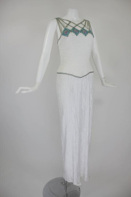 1980s Mary McFadden Couture Pleated Column Gown with Beaded Cage Bodice 3