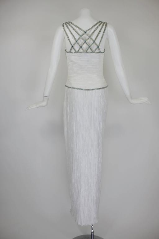 1980s Mary McFadden Couture Pleated Column Gown with Beaded Cage Bodice 4