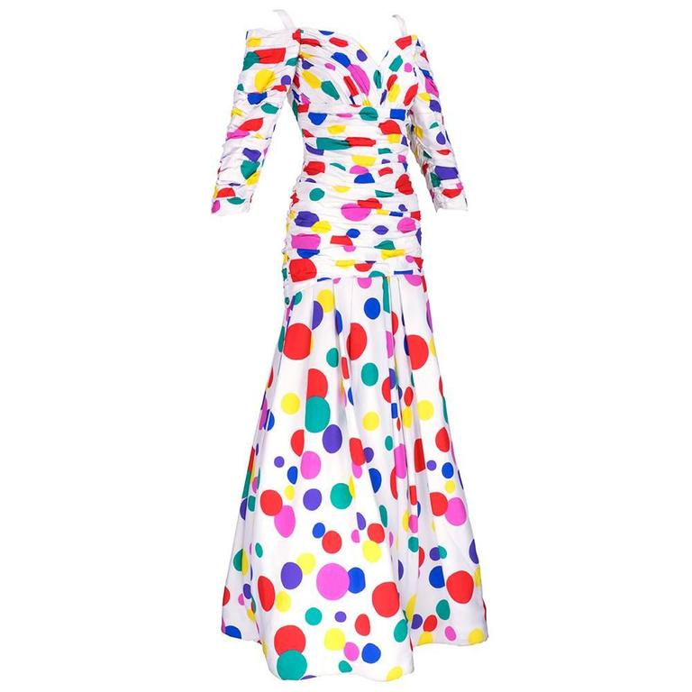 Arnold Scaasi 80s Rainbow Polka Dot Gown 3