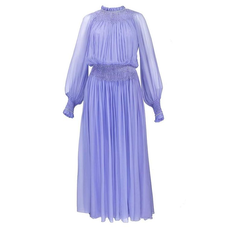 1970s Nina Ricci Lavender Chiffon Gown 1