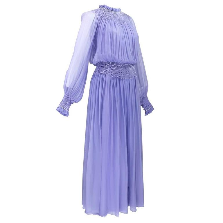 1970s Nina Ricci Lavender Chiffon Gown 3