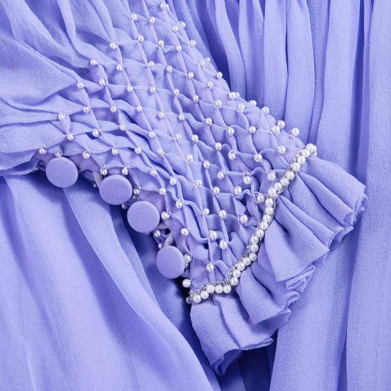 1970s Nina Ricci Lavender Chiffon Gown 4