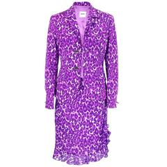 90s Moschino Cheap and Chic Purple Leapord Suit with Safety Pins