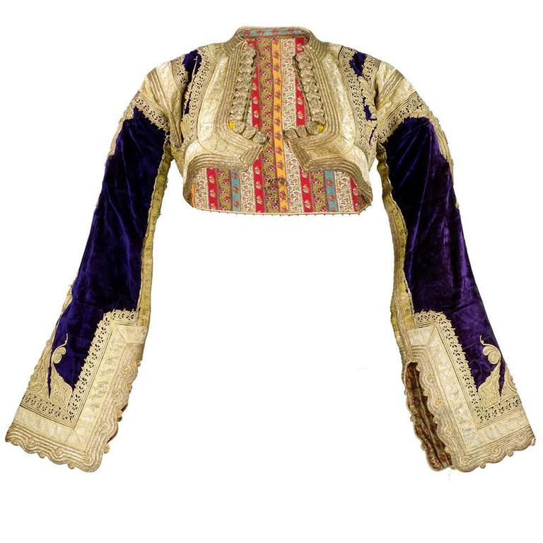 Early 20th Century Ethnic Cropped Purple Velvet Jacket with Gold Braid 1