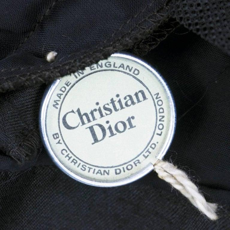 50s Christian Dior London Black Shantung Silk Cocktail Dress 7