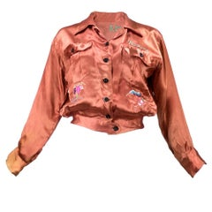 40s Pumpkin Colored World War 2 Era Satin  Souvenir Jacket