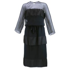 Late 50s/Early 60s Black Chiffon and Satin Cocktail Dress By Dior-London