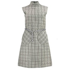 60s Bill Blass for Maurice Rentner Mod Houndstooth Dress with Chain Belt