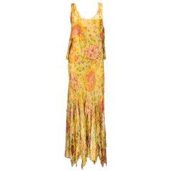 Gold Lamé Floral Gown with Flounces, 1930s