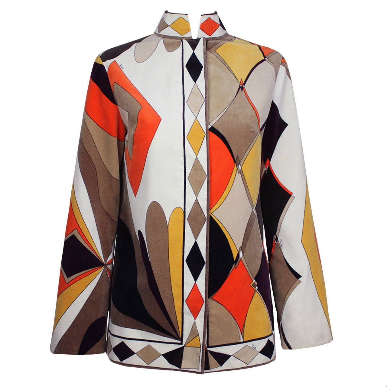 Emilio Pucci 1960s Geometric Print Velvet Jacket