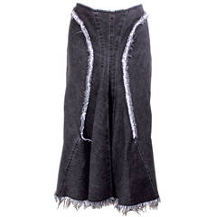 Junya Watanabe Comme des Garcons Denim Skirt with Fringe Selvedge Trim