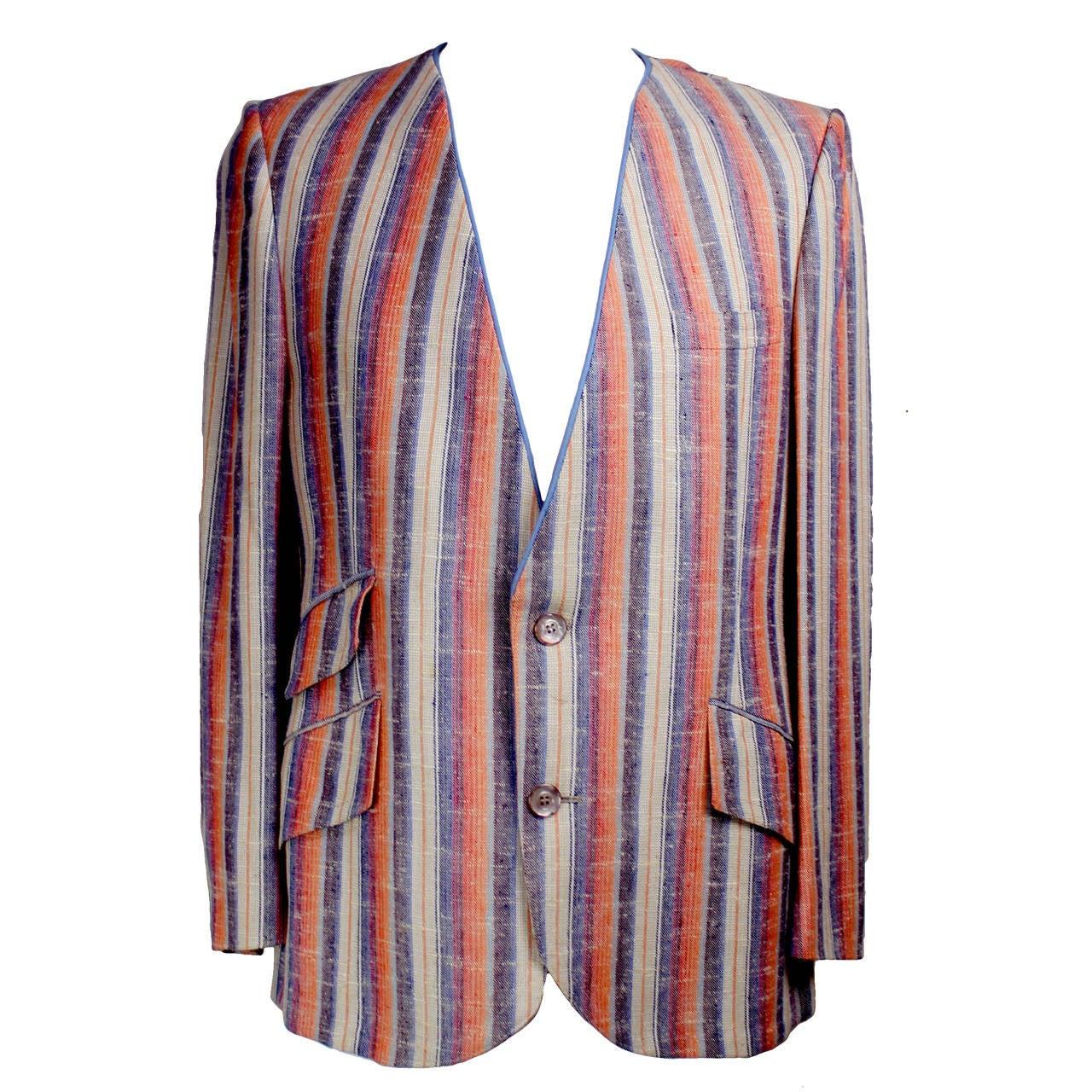 1960s Men's Striped Hardy Amies Designed Mod Suit Jacket