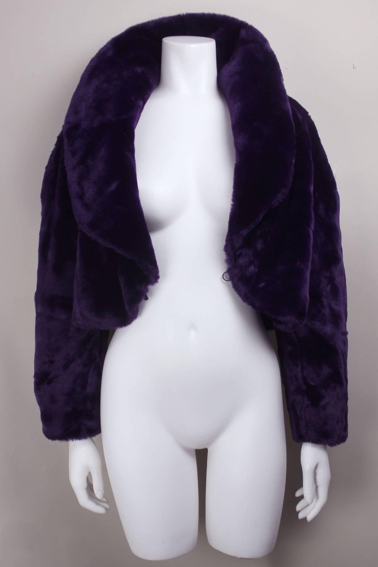 Byblos Purple Faux Fur Cropped Jacket 2
