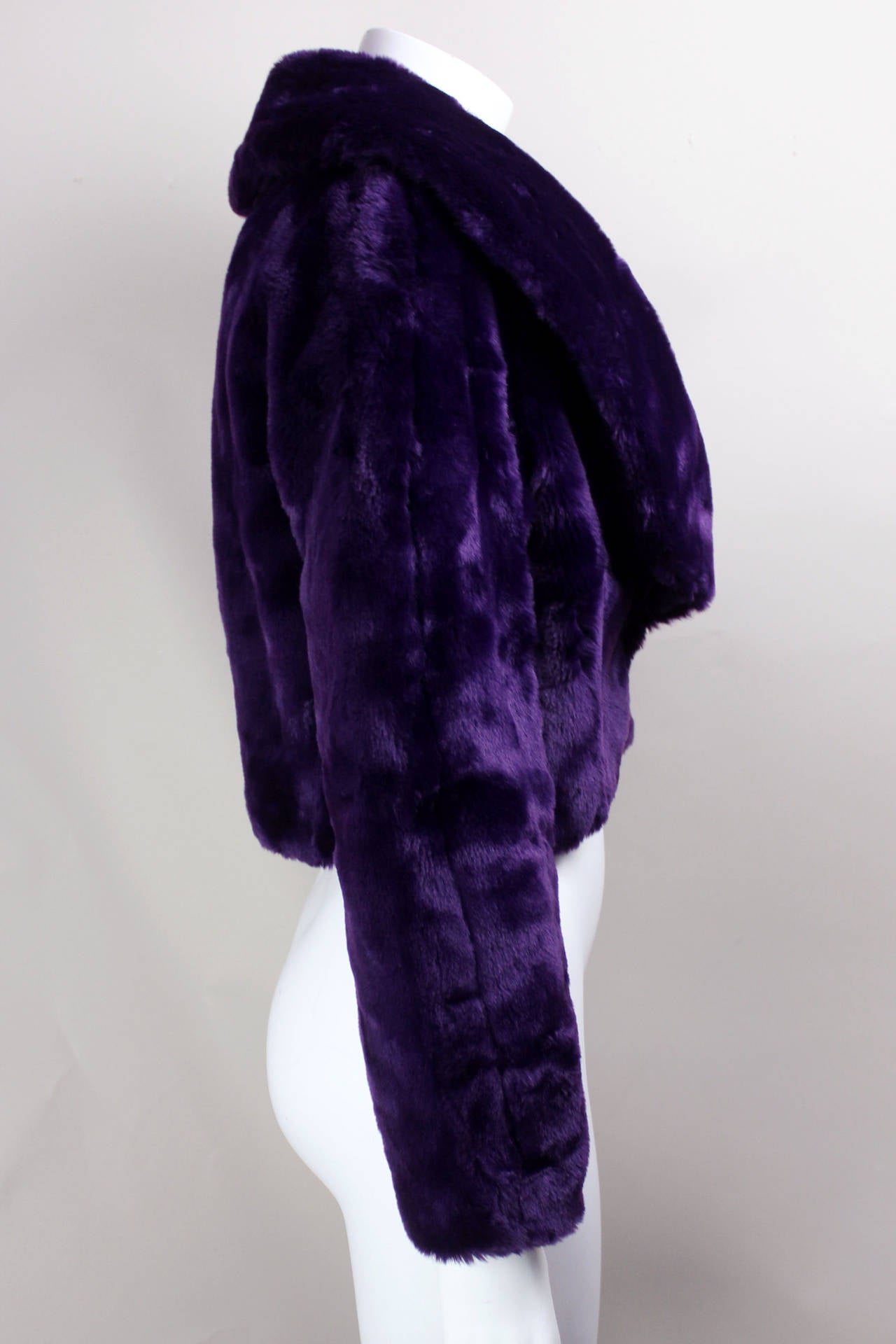 Byblos Purple Faux Fur Cropped Jacket At 1stdibs