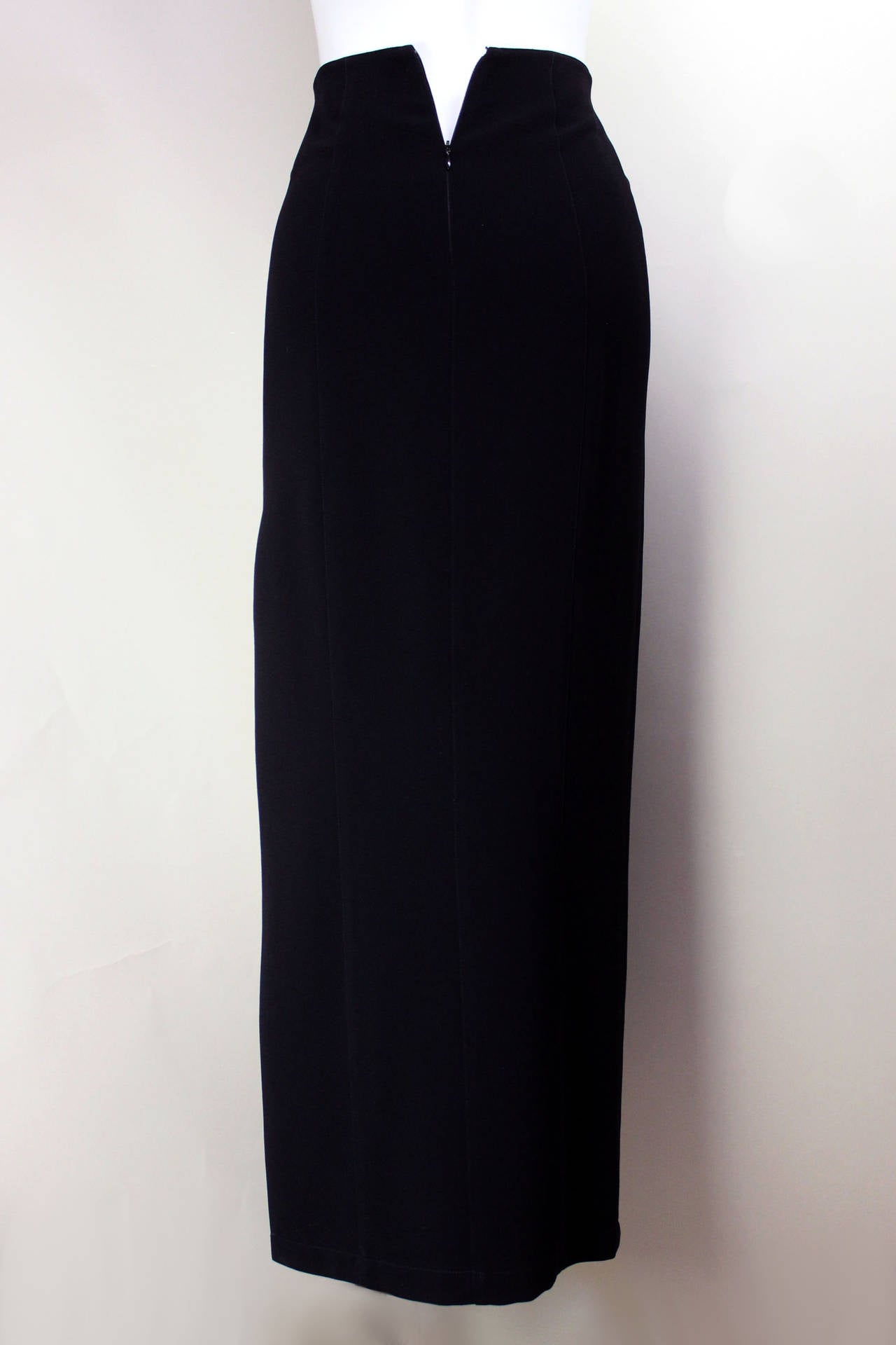 Black 1980s Thierry Mugler Sexy Long Pencil Skirt For Sale