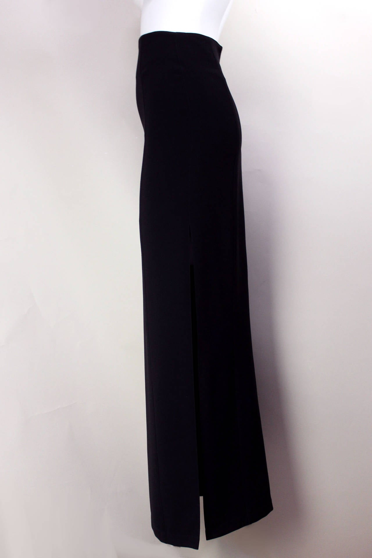 This is the ultimate pencil skirt! It is perfectly proportioned, completely form-fitting from waist to ankle, and features a sexy side slit up to the thigh.