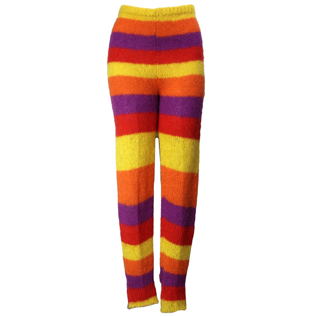 1980s Stephen Sprouse Striped Hand Knitted Leggings