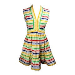 1970s Victor Costa Bright and Flouncy Cotton Day Dress