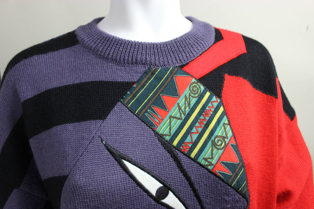 1980s Kansai Yamamoto Sweater In Excellent Condition For Sale In New York, NY