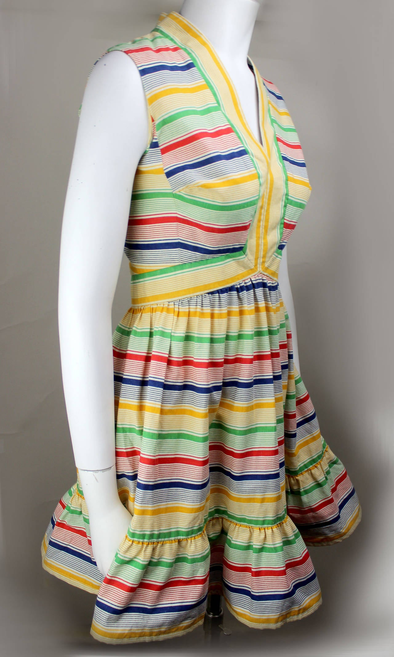 1970s Victor Costa Bright and Flouncy Cotton Day Dress 2