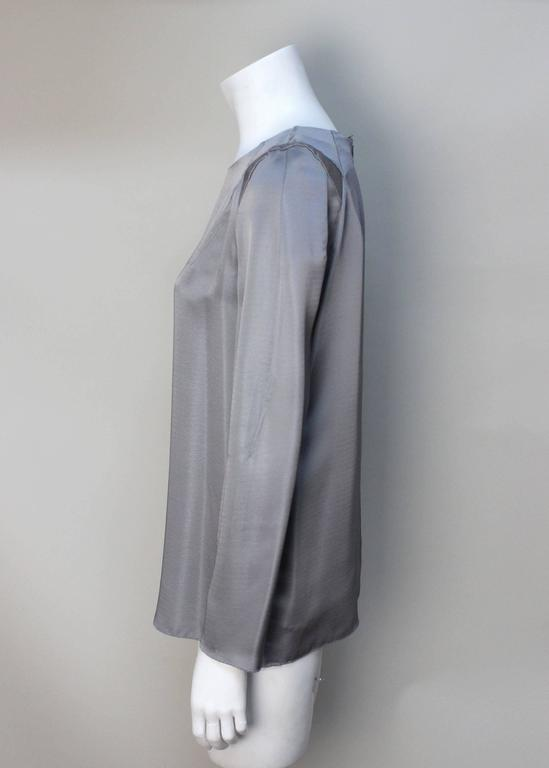 Marni Gunmetal Grey Silky Viscose Top In Excellent Condition For Sale In New York, NY